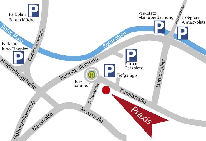 Anfahrt HNO Gemeinschaftspraxus Bayreuth